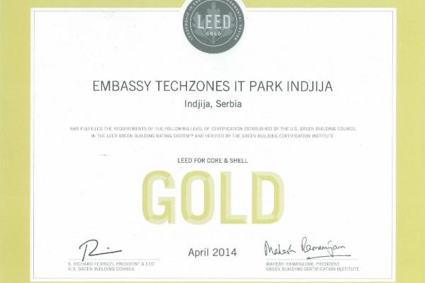 LEED Gold - Embassy Techzones IT Park Indjija